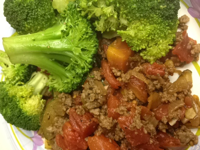 Chili Redux with Steamed Broccoli