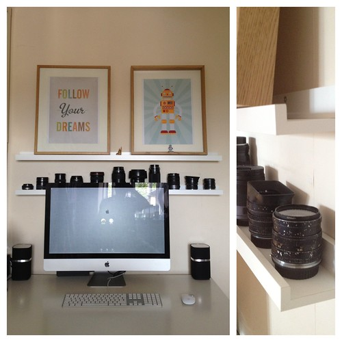 IKEA hack: Ribba picture ledge = perfect Lens storage