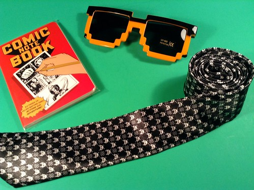 January 2015 Loot Crate tie, glasses, & book