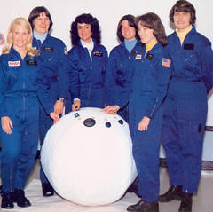 First Six Women Astronauts with Rescue Ball