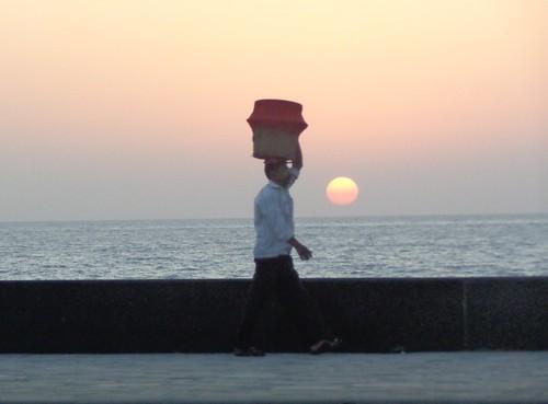 ocean sunset sea sky sun india water asia bombay mumbai