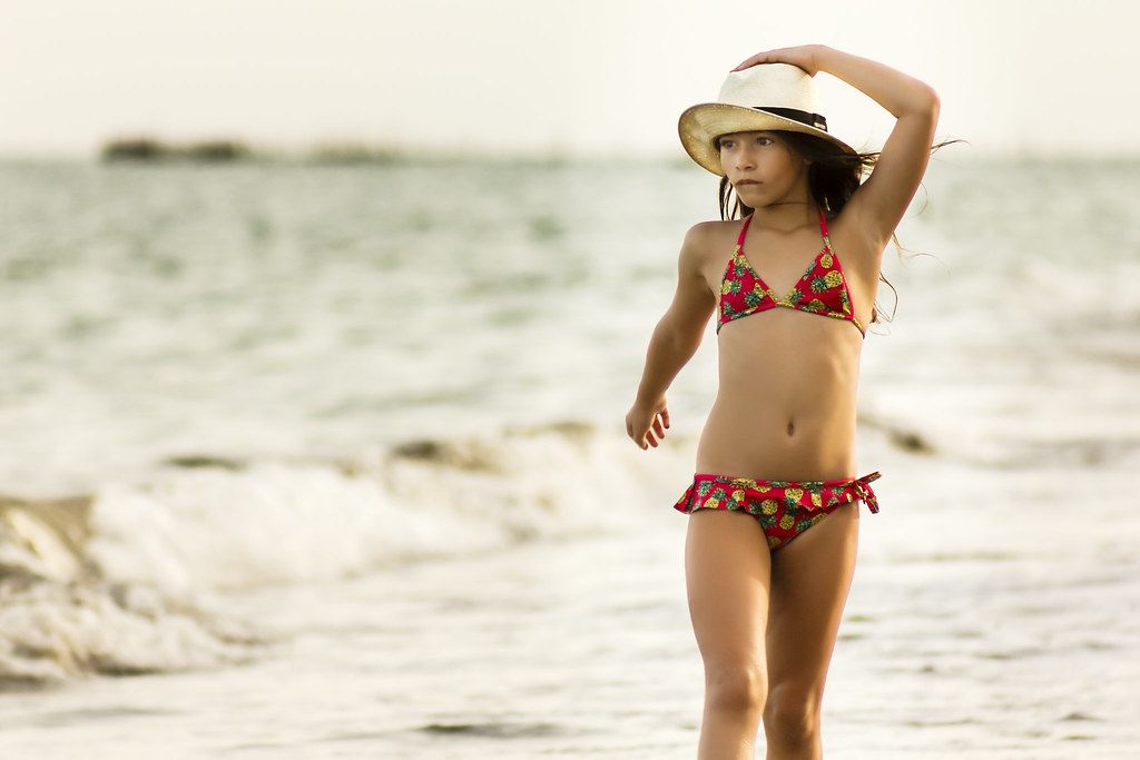 ... Little Girl in Bikini at the Beach with Straw Hat | by Marcos Felipe  T.D.