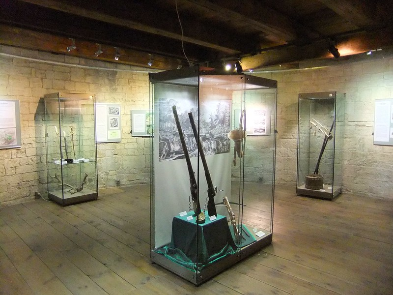 Weapons exhibited inside the Old Castle Keep - Neuenburg Castle (Schloss Neuenburg) - Freyburg, Saxony-Anhalt, Germany