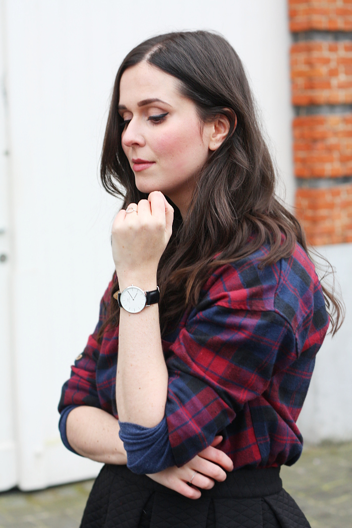 Daniel Wellington Classic Sheffield Lady watch, plaid shirt