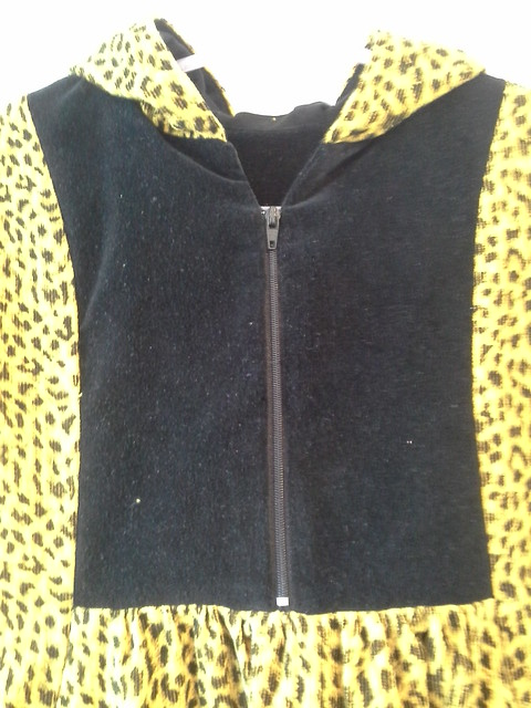 Leopard Hide And Seek Dress with hood, front yoke