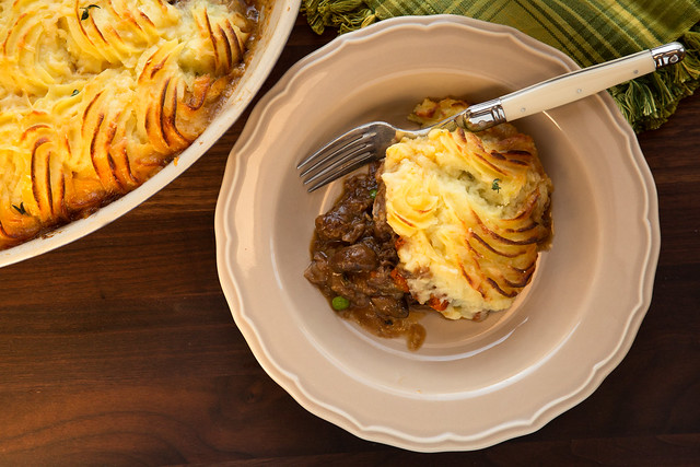 short rib cottage pie in plate