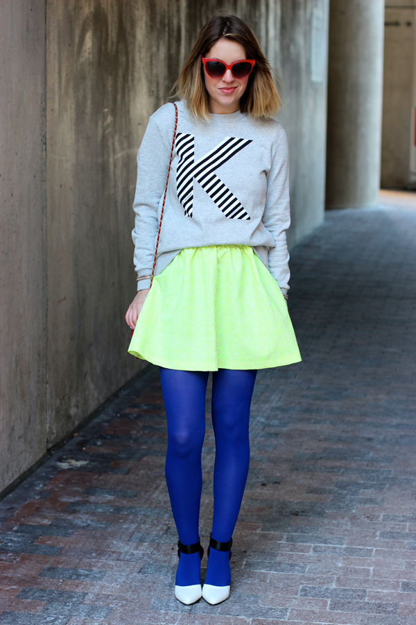Sweatshirt and neon skirt, style tab, boston fashion blogger