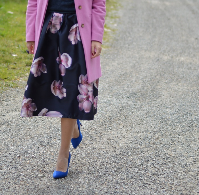 skirt, romwe, fiori, rosa, Benetton, wildflower girl, tacchi, outfit (6)