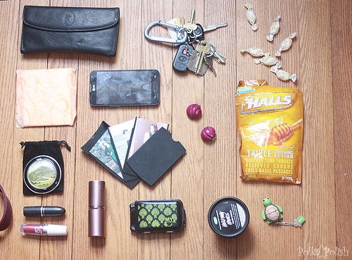 The contents of my purse, laid out in a grid