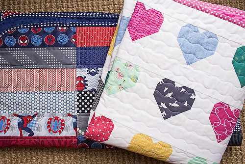 Spidey Quilt and Hanna Hearts Quilt