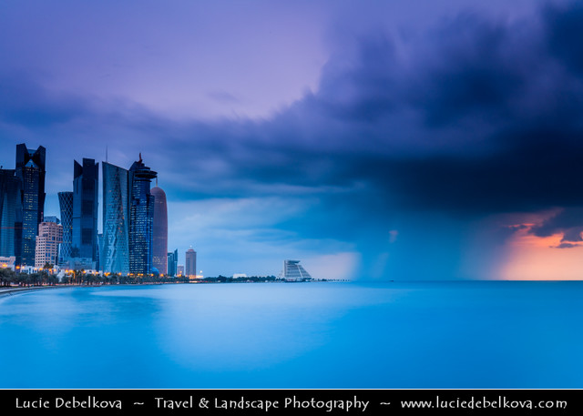 Qatar - Doha - Doha Corniche during heavy storm at sunrise
