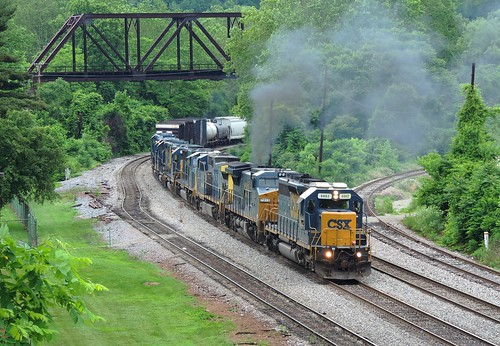 railroad june train diesel pennsylvania engine transportation locomotive csx fayettecounty connellsville sd402 8882 darkfuture yn3 standardcab l394