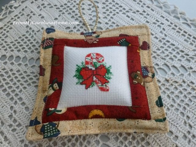 Cross Stitched Quilted Christmas Ornaments | From My Carolina Home