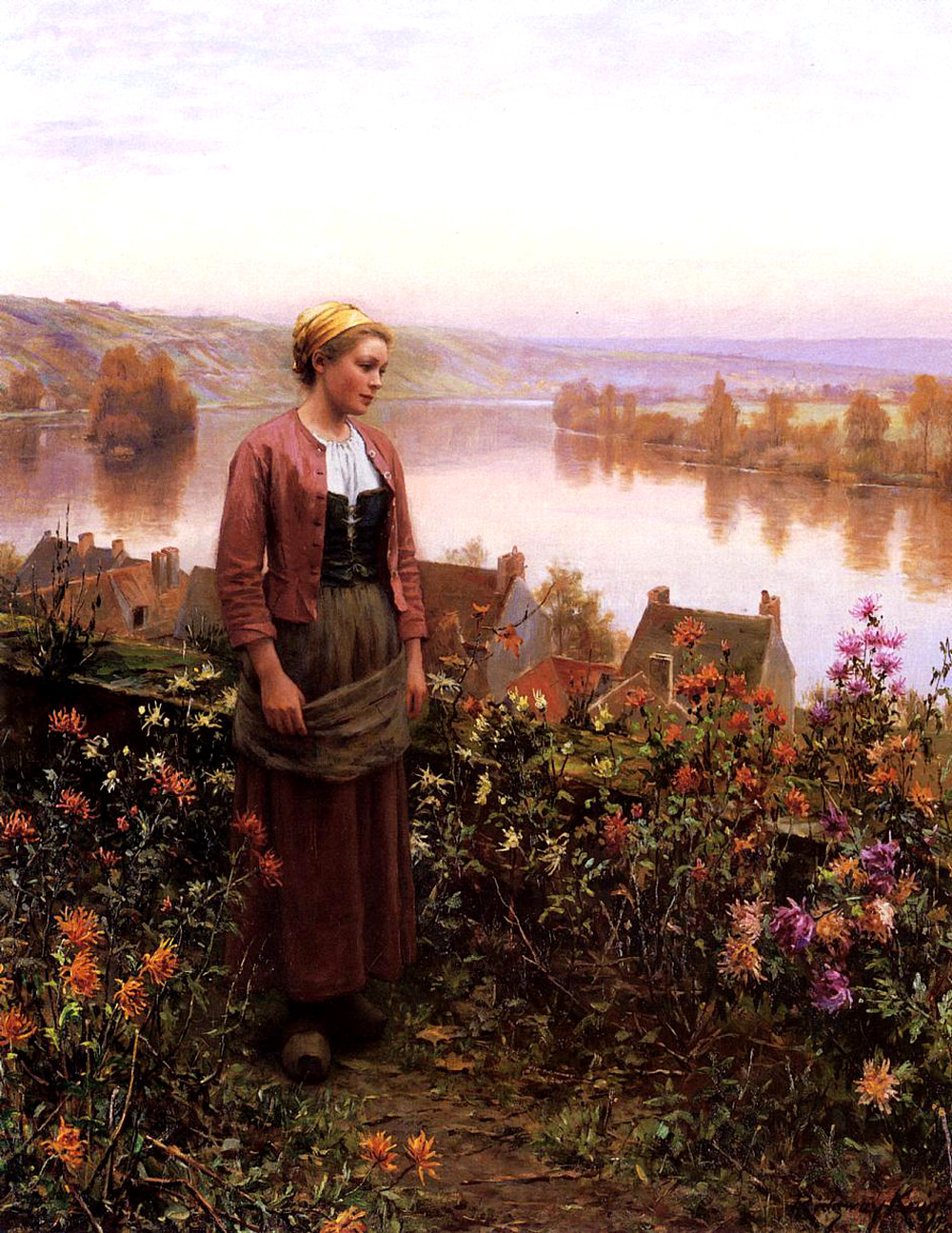 A Garden above the Seine, Rolleboise by Daniel Ridgway Knight