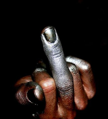 Black Man Middle Finger. Image source unknown.