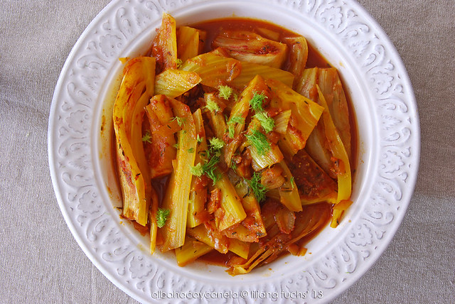 Fennel with safron tomato sauce