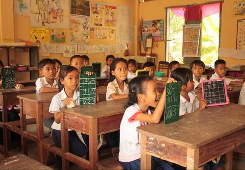 A primary classroom in Cambodia