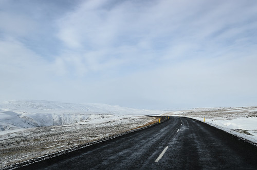 Iceland side of road snow