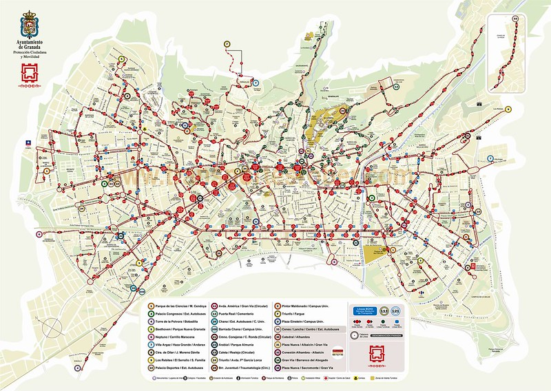 Mapa do Transporte Publico em Granada