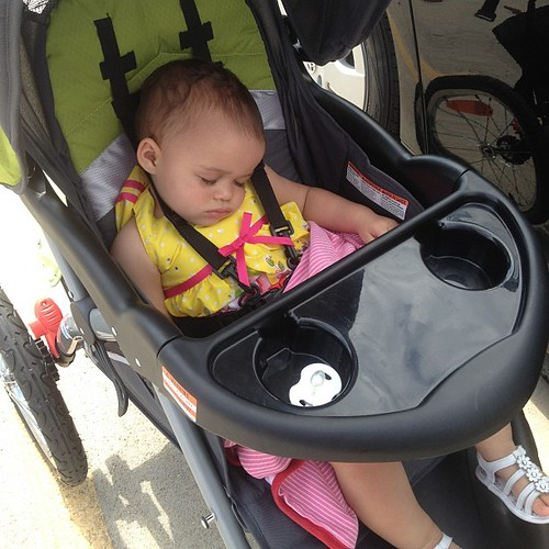 Baby Mia - David pushed her stroller and played music for her until she fell asleep.