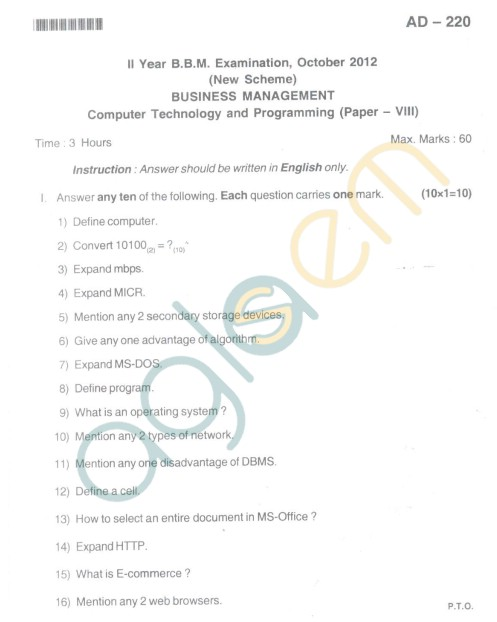 Bangalore University Question Paper Oct 2012II Year BBM - Business Management Paper VIII Computer Technology and Programming
