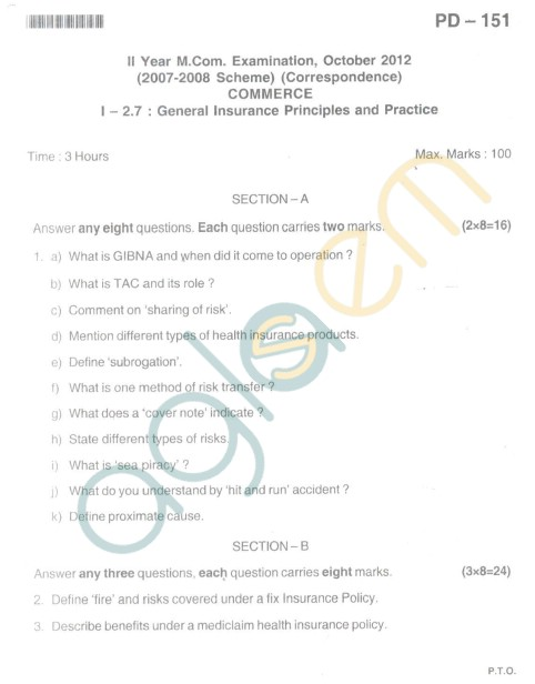 Bangalore University Question Paper Oct 2012II Year M.Com. - Commerce General Insurance principles And Practice