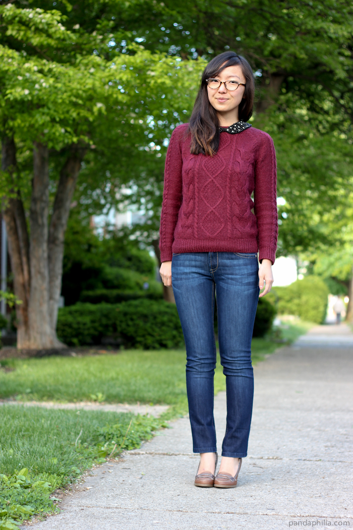 burgundy sweater and jeans