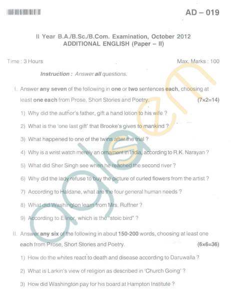 Bangalore University Question Paper Oct 2012:II Year B.Com. - Addtional English