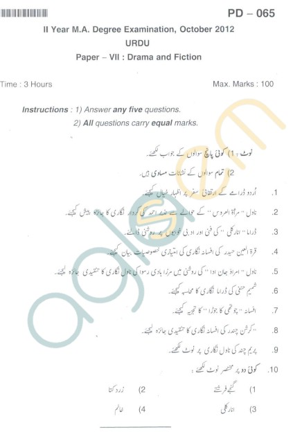 Bangalore University Question Paper Oct 2012:II Year M.A. - Degree Urdu Paper VII : Drama and Fiction