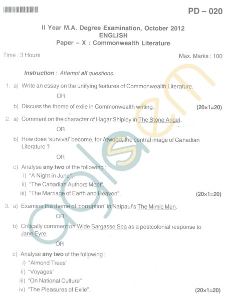 Bangalore University Question Paper Oct 2012: II Year M.A. - English Paper X Common Wealth
