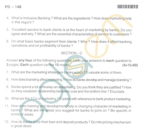 Bangalore University Question Paper Oct 2012 II Year M.Com. - Commerce Maraketing Of Bank Products