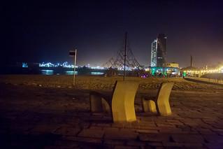 Image of Platja de la Nova Icària near GTD. barcelona sea españa beach night noche mar spain europa europe mediterranean mediterraneo seat playa catalonia catalunya es cataluña asiento