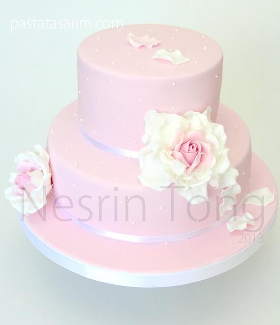 pink roses weddıng cake2013