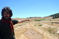 At AL T Wani village: being showed the lands taken by settlements