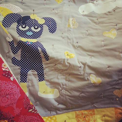 Dog quilt in the style of Pete the cat...