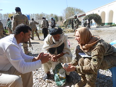 Soldier discusses medication and vaccine quality at the Sangin District Center