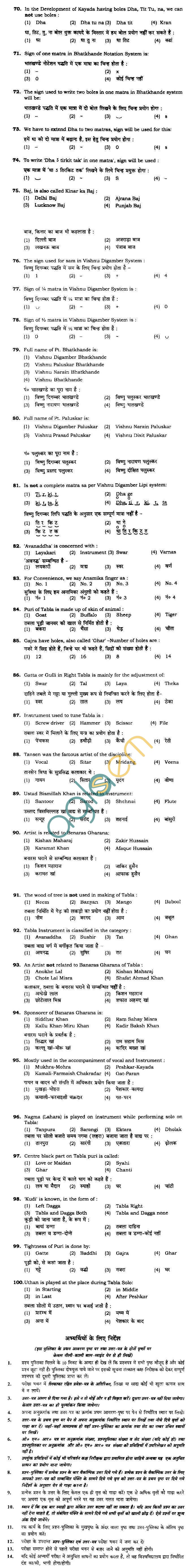 BHU UET 2010 B.Music Tabla Question Paper