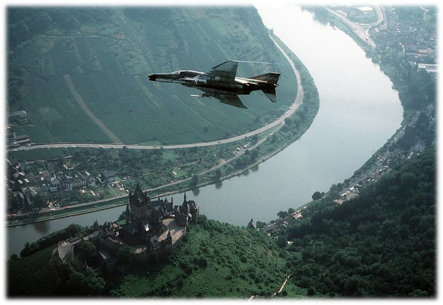 81st Fighter Squadron F-4 Phantom flying over the Mosel River
