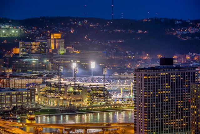 Half of PNC Park as seen from Mt. Washington HDR