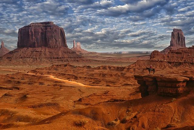Navajo on horseback in Monument Valley