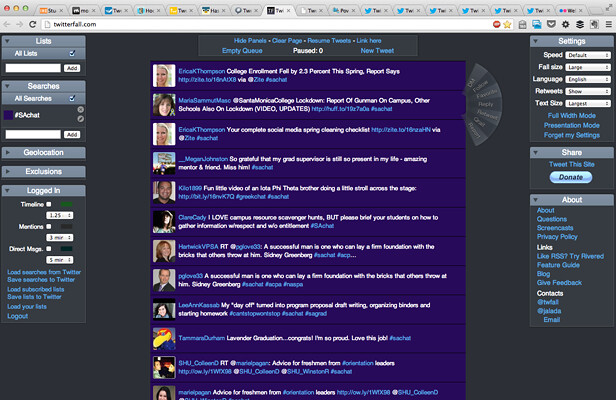 SAchat Twitterfall screengrab