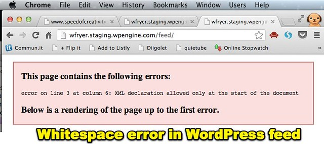 Whitespace error in WordPress feed