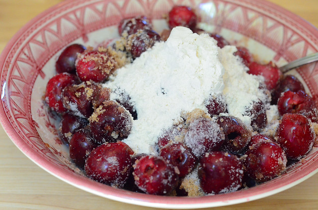 Ingredients are added to the pitted cherries.