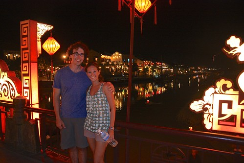 On the Hoi An bridge at night… lanterns everywhere