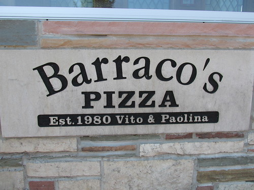 Barraco's Pizza at the southwest corner of West 95th Street and South Lawndale Avenue.  Evergreen  Park  Illinois.  Saturday, August 10th, 2013. by Eddie from Chicago