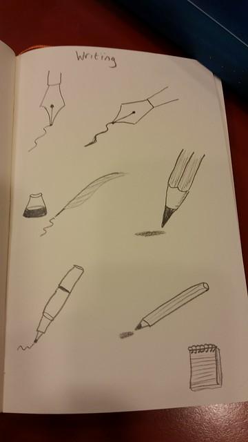 Writing doodles.