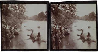 People by the river Tana with a hippo shot by Jorma Gallen-Kallela (sitting on a rock), 1910.
