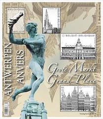 16 Markt Van Antwerpen timbre z blaadje foto - bis