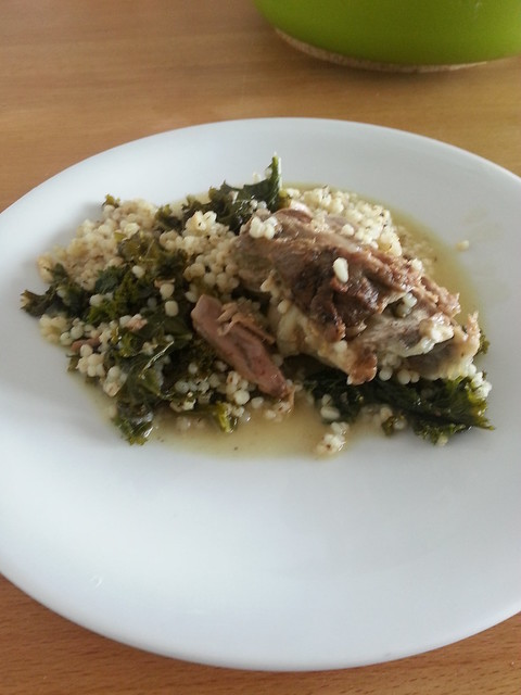 Neck of lamb with barley and kale