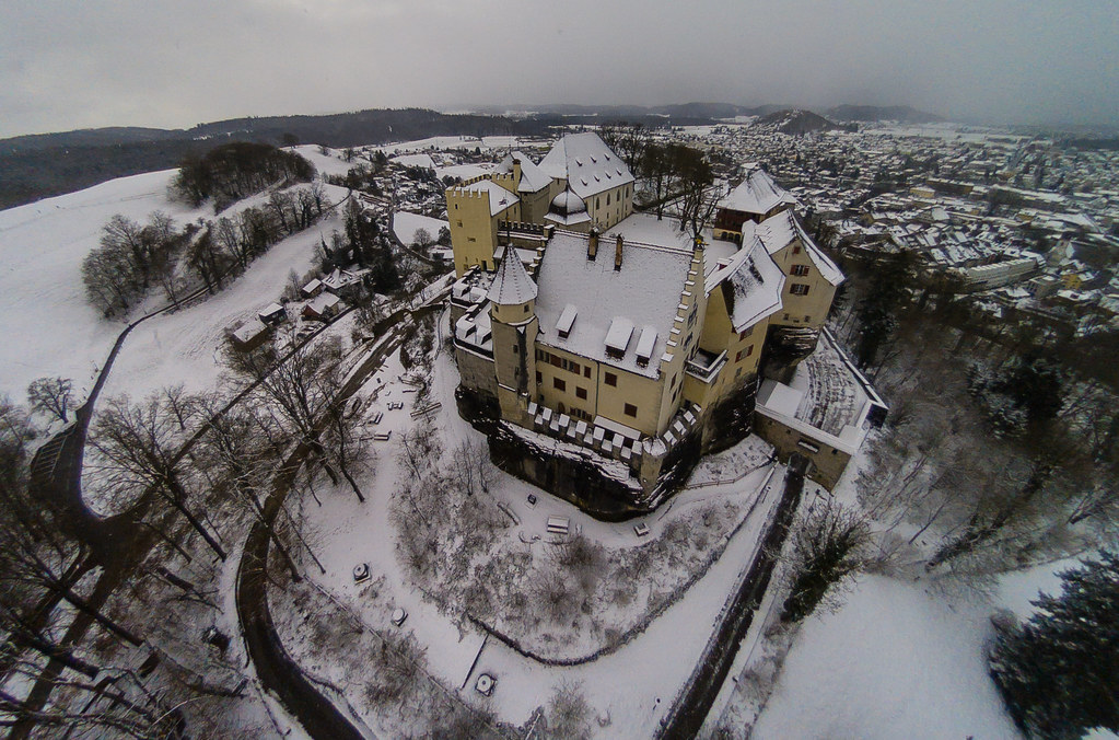 Flying over a very wintery Lenzburg Castle